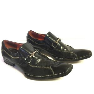 Robert Wayne Fly Leather Zipper Fleur de Lis Shoes